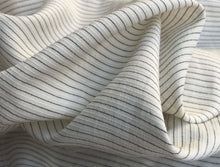 "Load image into Gallery viewer, 58"" White & Black Cotton Lyocell Tencel Blend Striped Woven Fabric By the Yard - APC Fabrics"