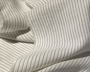 "58"" White & Black Cotton Lyocell Tencel Blend Striped Woven Fabric By the Yard - APC Fabrics"