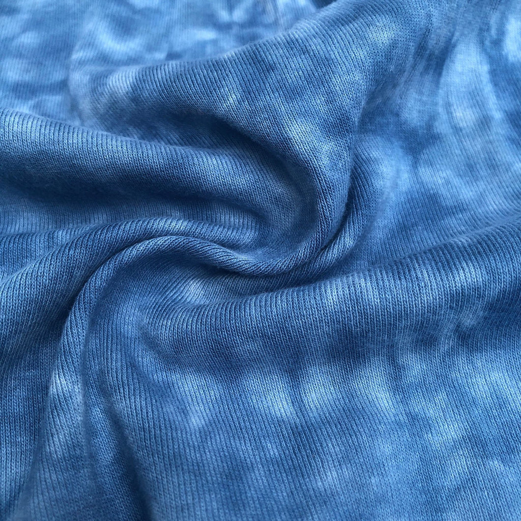 59 Denim Blue & White 100% Cotton Jersey Tie Dye Medium Weight Knit Fabric By the Yard