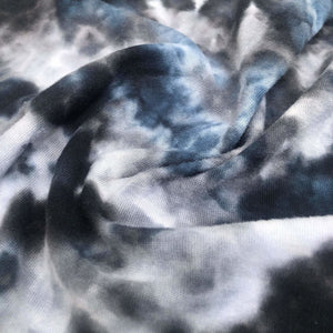 60 Black White Blue 100% Cotton Jersey Tie Dye Knit Fabric By the Yard
