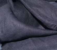 "Load image into Gallery viewer, 60"" Dark Navy Blue 100% Lithuanian Linen Medium Woven Fabric By the Yard - APC Fabrics"