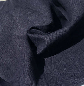 60 Dark Navy Blue 100% Lithuanian Linen Medium Woven Fabric By the Yard