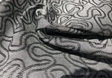 Load image into Gallery viewer, 60 Embroidered Swirl Jacquard Cotton Black & Gray Heavy Woven Fabric By Yard