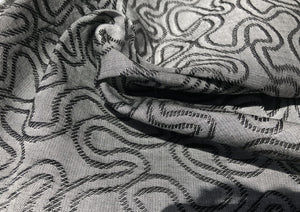 60 Embroidered Swirl Jacquard Cotton Black & Gray Heavy Woven Fabric By Yard