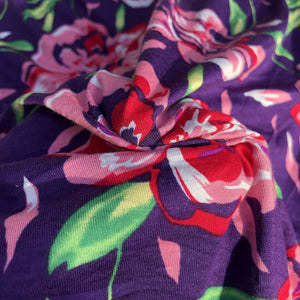 "60"" Modal Spandex Blend Colorful Floral Print Jersey Knit Fabric By the Yard - APC Fabrics"
