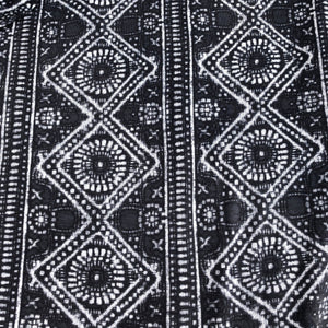 60 Modal Spandex Lycra Stretch Gray & White Ikat Print Jersey Knit - Fabric