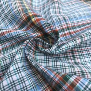 60 Multicolor Colorful Rainbow 100% Cotton Checkered Woven Fabric By the Yard