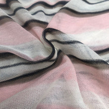 Load image into Gallery viewer, 60 Pink Black White Striped Low Gauge 100% Polyester Yarn Dyed Knit Fabric