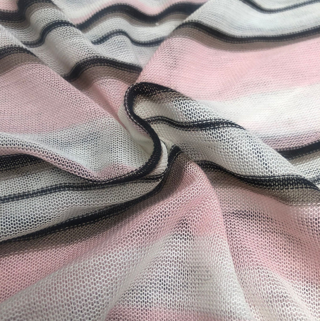 60 Pink Black White Striped Low Gauge 100% Polyester Yarn Dyed Knit Fabric