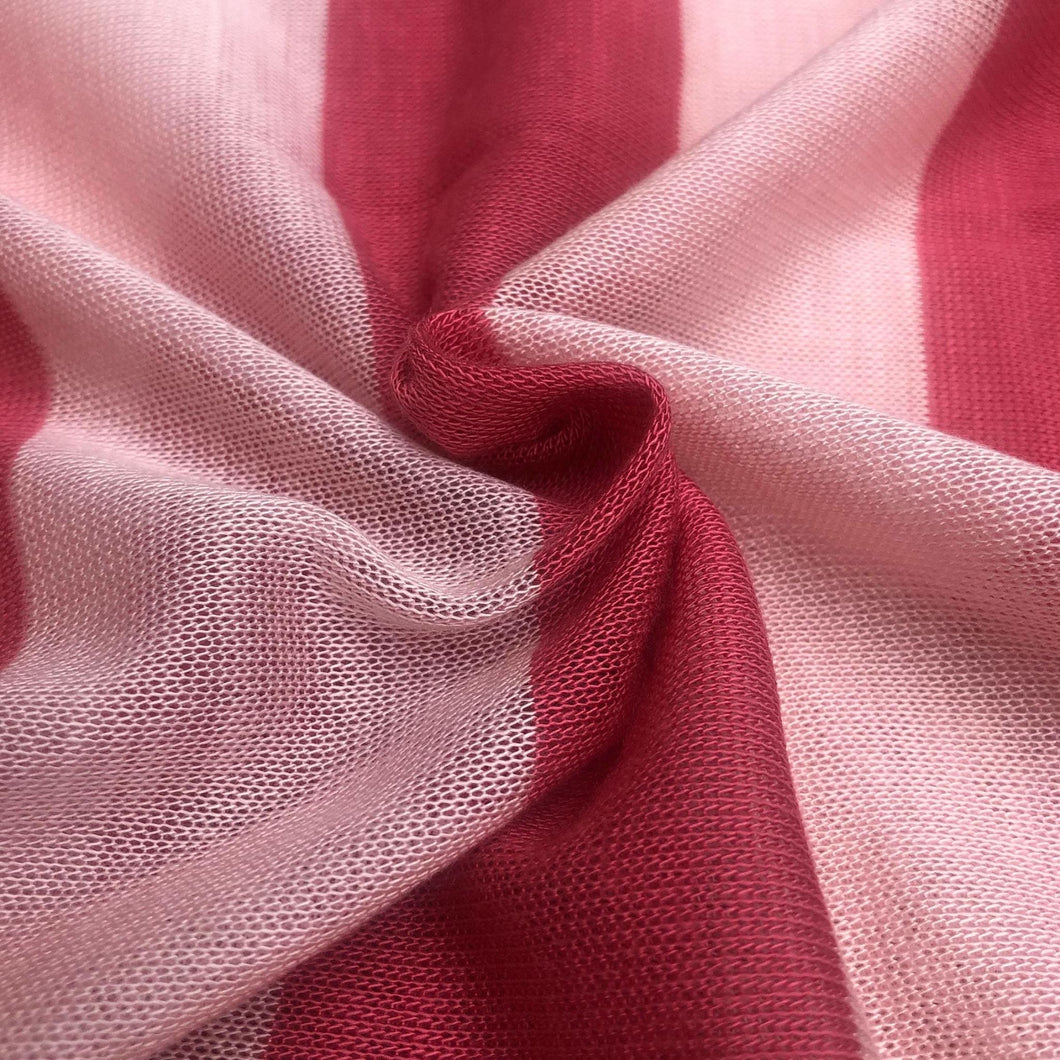 60 Pink Striped Low Gauge 100% Polyester Yarn Dyed Knit Fabric