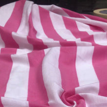 Load image into Gallery viewer, 60 Pink & White Striped Modal Yarn Dyed Jersey Knit Fabric By the Yard