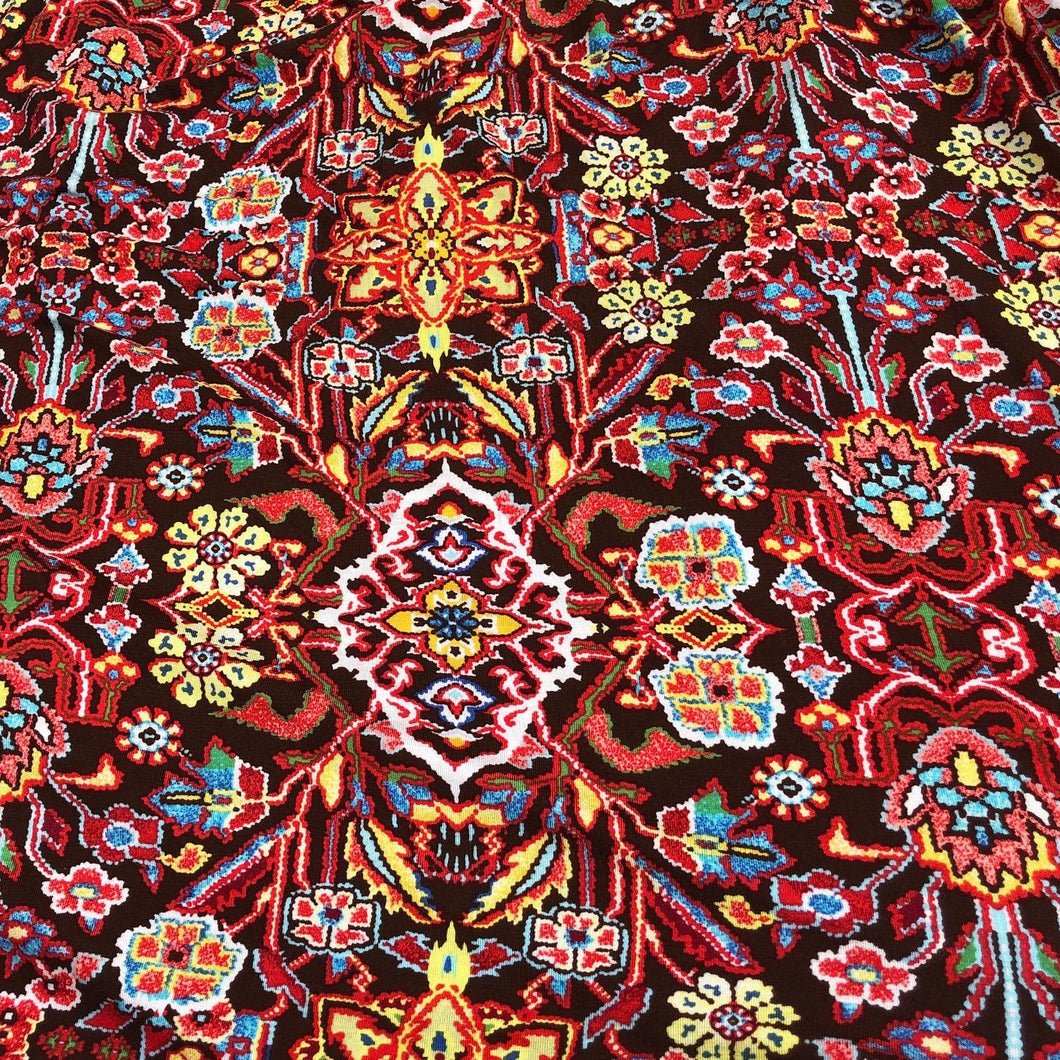 60 Rayon Spandex Blend Multicolor Red Floral Print Jersey Knit Fabric By Yard - Fabric