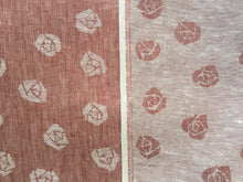 Load image into Gallery viewer, 60 Red & White 100% Linen Double Faced Rose Jacquard Woven Fabric By the Yard
