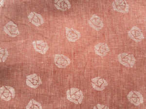 60 Red & White 100% Linen Double Faced Rose Jacquard Woven Fabric By the Yard