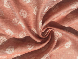 "60"" Red & White 100% Linen Double Faced Rose Jacquard Woven Fabric By the Yard - APC Fabrics"