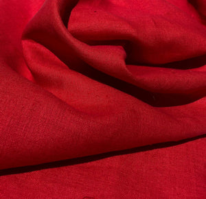60 Solid Red 100% Lithuanian Linen Medium Weight Woven Fabric By the Yard