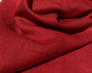"60"" Solid Red 100% Lithuanian Linen Medium Weight Woven Fabric By the Yard - APC Fabrics"