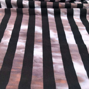 62 Black White Striped Tie Dye 100% Cotton Yarn Dyed Jersey Knit Fabric By the Yard