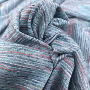 "62"" Blue & Red Rayon Poly Blend Striped Space Dye Weave Knit Fabric By the Yard - APC Fabrics"