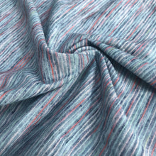 Load image into Gallery viewer, 62 Blue Red Rayon Poly Blend Striped Space Dye Weave Knit Medium Weight Fabric By the Yard