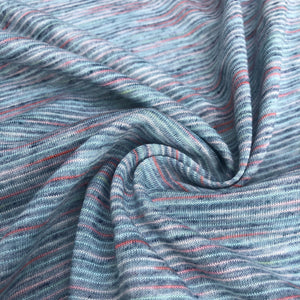 62 Blue Red Rayon Poly Blend Striped Space Dye Weave Knit Medium Weight Fabric By the Yard
