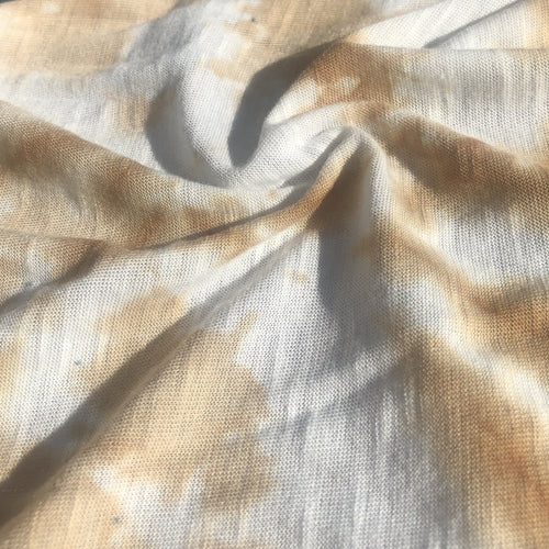 64 Cream Ivory Beige & White Tie Dye 100% Polyester Jersey Knit Fabric By Yard