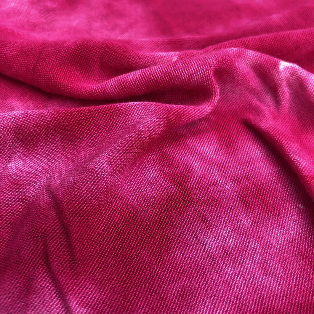 64 Fuchsia Hot Pink & White Modal Spandex Lycra Stretch Blend Tie Dye Jersey Knit Fabric By Yard