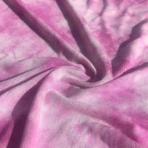 64 Pink & White Tie Dyed Modal Spandex Stretch Jersey Knit Fabric By the Yard