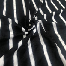 "Load image into Gallery viewer, 66"" Black & White Striped Modal Spandex Yarn Dyed Knit Fabric By the Yard - APC Fabrics"