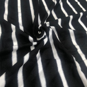 66 Black White Striped Modal Spandex Yarn Dyed Knit Fabric By the Yard