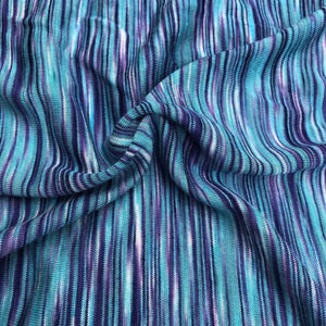 66 Blue Purple Space Dyed 100% Bamboo Knit Fabric By the Yard