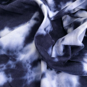 66 Blue & White Tie Dye 100% Cotton Jersey Knit Fabric By the Yard