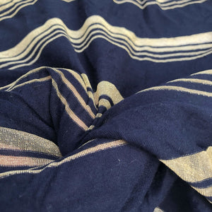 66 Modal Spandex Lycra Stretch Dark Navy & Gold Striped Jersey Knit Fabric By the Yard - Fabric