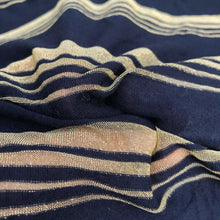 "Load image into Gallery viewer, 66"" Modal Spandex Stretch Dark Navy & Gold Striped Jersey Knit Fabric By Yard - APC Fabrics"