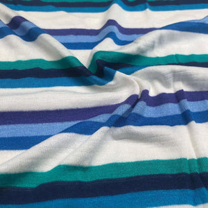 "66"" Multicolor Blue, White, & Purple Striped Bamboo Spandex Knit Fabric By Yard - APC Fabrics"