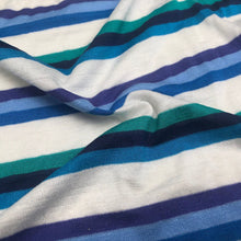 "Load image into Gallery viewer, 66"" Multicolor Blue, White, & Purple Striped Bamboo Spandex Knit Fabric By Yard - APC Fabrics"