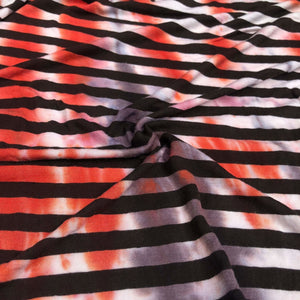 68 Black White Striped Tie Dye 100% Rayon Yarn Dye Jersey Knit Fabric By the Yard