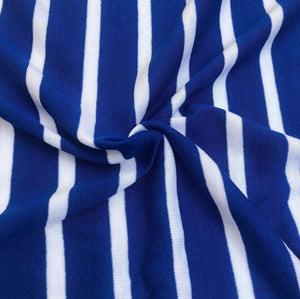 68 Blue & White Striped Modal Spandex Yarn Dyed Knit Fabric By the Yard