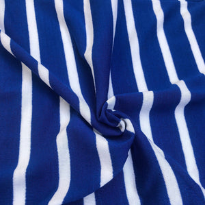 "68"" Blue & White Striped Modal Spandex Yarn Dyed Knit Fabric By the Yard - APC Fabrics"