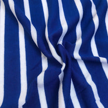 "Load image into Gallery viewer, 68"" Blue & White Striped Modal Spandex Yarn Dyed Knit Fabric By the Yard - APC Fabrics"