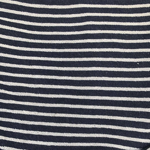 74 100% Cotton French Terry Cloth Denim Blue & White Striped Heavy Double Knit Fabric By the Yard - Fabric