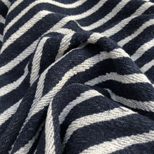 "Load image into Gallery viewer, 74"" 100% Cotton French Terry Cloth Blue White Striped Heavy Knit Fabric By Yard - APC Fabrics"