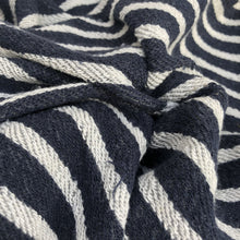 Load image into Gallery viewer, 74 100% Cotton French Terry Cloth Denim Blue & White Striped Heavy Double Knit Fabric By the Yard - Fabric