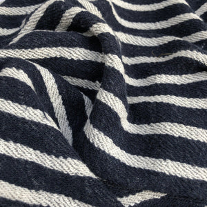 "74"" 100% Cotton French Terry Cloth Blue White Striped Heavy Knit Fabric By Yard - APC Fabrics"