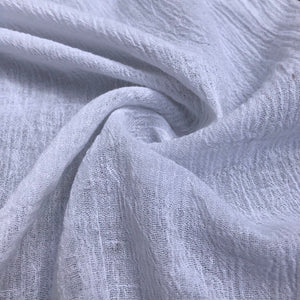 "56"" 100% Cotton Gauze Wrinkly Off White Ivory Woven Fabric By the Yard - APC Fabrics"