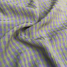 "Load image into Gallery viewer, 54"" Rayon Green & Purple Checkered Check Gingham Gauze Woven Fabric By the Yard"