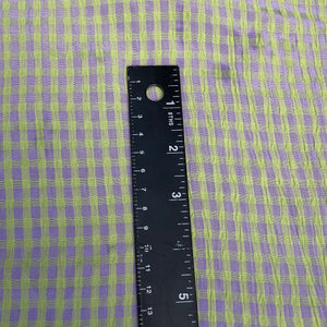 "54"" Rayon Green & Purple Checkered Check Gingham Gauze Woven Fabric By the Yard"