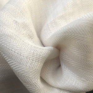 "58"" 100% Linen Herringbone 6 OZ PFD Ivory Woven Fabric By the Yard - APC Fabrics"