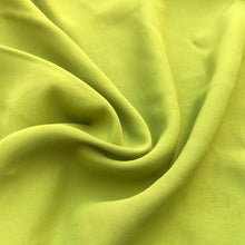 "Load image into Gallery viewer, 58"" 100% Rayon Faille Blitz Bright Neon Green Light Weight Woven Fabric By the Yard"