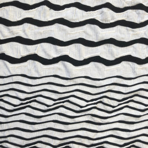 "52"" Rayon Spandex Lycra Stretch Black & White Ikat Chevron Diagonal Striped Jacquard Knit Fabric By the Yard - APC Fabrics"